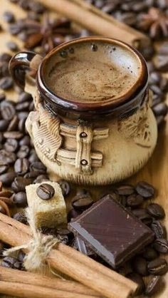 of coffee with spices and chocolate A gorgeous Turkish Coffee.A gorgeous Turkish Coffee. I Love Coffee, Hot Coffee, Iced Coffee, Coffee Cafe, Coffee Drinks, Coffee Shops, Coffee Lovers, Café Chocolate, Coffee World