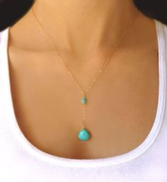 Genuine Gold Turquoise Necklace - Small Turquoise Pendant Necklace - Dainty Petite Turquoise Drop Necklace - Beaded Dangle Necklace Gift