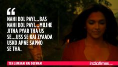 12 Times Ranbir-Deepika's 'Yeh Jawaani Hai Deewani' Proved That It Understood Our Generation Perfectly! Famous Dialogues, Movie Dialogues, Rude Quotes, Faith Quotes, Qoutes, Romantic Song Lyrics, Romantic Quotes, Song Lyric Quotes, Movie Quotes