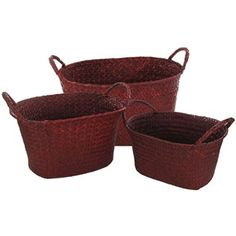 """Display and organize items while accenting décor with these Red Oval Woven Baskets with Handles. Use these baskets to store toys, blankets, sheets, towels, and other items, all while being stylish!    Dimensions:    Small      Length: 9 1/2""""    Width: 6 1/2""""    Height: 4 1/2""""      Medium:      Length: 10 1/2""""    Width: 7 1/4""""    Height: 5 3/4""""      Large:      Length: 11 7/8""""    Width: 9""""    Height: 6 3/4"""" ..."""
