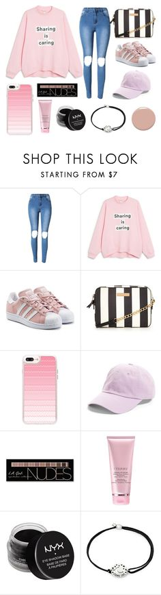 """think pink #ootd #pink #polyvore #valentine"" by dorienvdm ❤ liked on Polyvore featuring Monki, adidas Originals, Casetify, American Needle, Charlotte Russe, By Terry, NYX, Alex and Ani and Christian Louboutin"