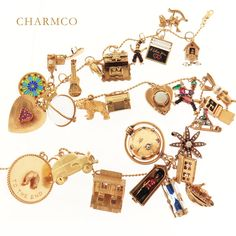 """Charm Jewelry We've pulled together our most charming charm gifts for the holidays. Zoom in. take a closer look. Find the penguin, the back to back boys on a sled, the motel that opens to double beds inside, the """"I likee you, you likee me"""" abacus! Vintage Charm Bracelet, Charm Jewelry, Boho Jewelry, Handmade Jewelry, Gold Jewellery, Jewelery, Silver Jewelry, Silver Charms, Sterling Silver Necklaces"""