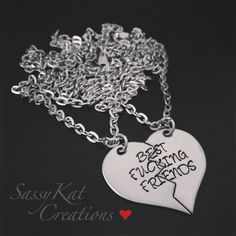 Hand stamped Split heart BEST FUCKING by SassyKatCreations10