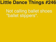 Little Dance Things- no, they are flat shoes or pointe shoes, never 'slippers'