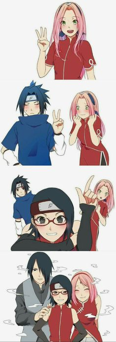 Anime Count backward with Sarada, Sakura and Sasuke - Shadowing Sasuke Uchiha, Anime Naruto, Art Naruto, Sasuke Sakura Sarada, M Anime, Naruto Sasuke Sakura, Naruto Cute, Naruto Shippuden Anime, Otaku Anime