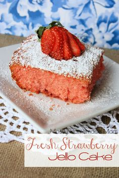 Fresh Strawberry Jello Cake - This delicious cake blends white cake mix, strawberry jello, and fresh strawberries for a quick dessert that the entire family will love!