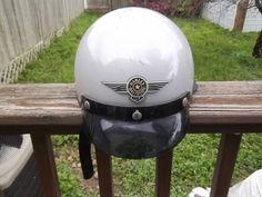 Bell Half Helmet Silver w/ Visor Harley Davidson Logo, Size XXL Needs Relined #Bell