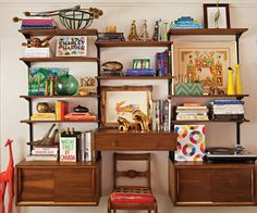 Justina Blakeney's custom mid-century style wall unit full of colorful finds (COTTAGES & BUNGALOWS MAGAZINE, PHOTOGRAPHY BY BRET GUM)