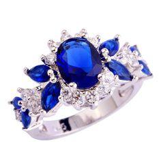 Blue Sapphire Quartz Silver Ring