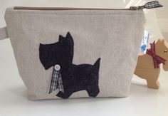 Linen Look Fabric Cosmetic Purse with Scottie Dog and by sewmoira