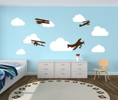 Wall Decal Airplanes With Clouds Wall Decal   Childrens Room Decor Kids  Room Teens Room Vinyl Wall Decal Airplanes With Clouds