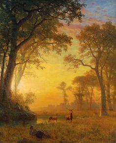 alinnetinagildedcage:  Light in the Forest Albert Bierstadt (1830-1902)