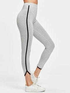 All Sporty Regular Striped Grey Crop Length Contrast Binding Curved Hem Heather Knit Leggings Yoga Fashion, Fitness Fashion, Fashion Clothes, Fashion Outfits, Women's Fashion, Womens Workout Outfits, Sporty Outfits, Cool Outfits, Grey Sports Leggings