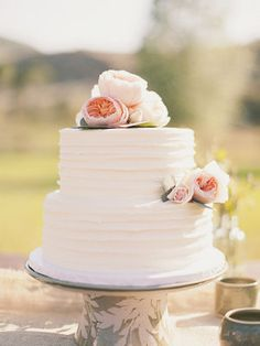 Wedding, Flowers, White, Pink, Cake, Green, Vintage, 2, Tiers, Kiki dan; love simple cake