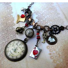 Necklace - STEAMPUNK Wonderland Pocket Watch - We're ALL MAD Here - Alice in Wonderland