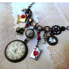 Necklace - STEAMPUNK Wonderland Pocket Watch - We're ALL MAD Here - Alice in Wonderland