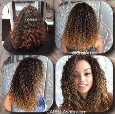 highlights on curly hair by Shai Amiel - Modern Crazy Curly Hair, Dyed Curly Hair, Colored Curly Hair, Curly Hair Care, Big Hair, Curly Hair Styles, Curly Balayage Hair, Highlights Curly Hair, Natural Hair Tips
