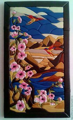 """Купить картина """"Сакура"""" - комбинированный, картина в подарок, картина для интерьера, картина, картина с цветами"""