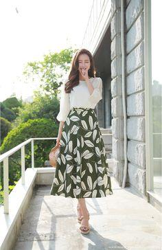 Korean Women`s Fashion Shopping Mall, Styleonme. Long Skirt Fashion, Long Skirt Outfits, Korean Fashion Dress, Korean Dress, Ulzzang Fashion, Korean Ootd, Long Skirts, Modest Dresses, Modest Outfits