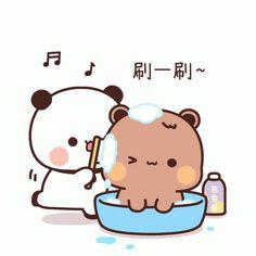 Cute Cartoon Pictures, Cute Love Pictures, Cute Images, Heart Pictures, Panda Gif, Panda Bear, Cute Bear Drawings, Cute Love Gif, Little Panda