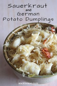 Sauerkraut and German Potato Dumplings - Sock Box 10 - Food for billy - Delicious dessert Veggie Dishes, Vegetable Recipes, Food Dishes, Side Dishes, Beef Dishes, Potato Recipes, Food Food, Easy German Recipes, Easy Dinner Recipes