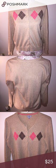 Izod long sleeve cardigan sweater. Izod long sleeve cardigan sweater. Beige with salmon and brown Argyle style. 100% cotton. In good condition. Izod Sweaters Cardigans