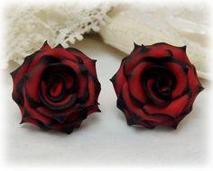 Black Tip Red Rose Studs Earrings - Red Black Rose Earrings, Red and Black Rose Studs, Black and Red Rose Earrings, Red Black Wedding Theme