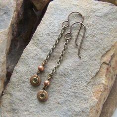 Earrings, Steampunk Earrings, Long Dangles, Chain Earrings, Friendship Gift, Science Fiction, Rustic Jewelry