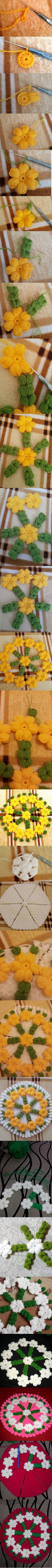Crochet for Bathroom Puff Stitch Crochet, Crochet Motif, Crochet Doilies, Crochet Flowers, Crochet Stitches, Knit Crochet, Crochet Daisy, Crochet Flower Tutorial, Crochet Symbols