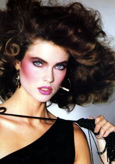 Carol Alt c. 1980's - The use of heavy contour blush, flourished in the '80's.  Tammy Faye Bakker costume