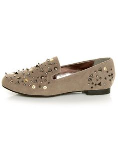 Bamboo Mansion 18 Taupe Studded Smoking Slipper Flats #lovelulus