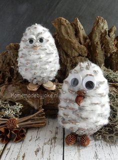 Dennenappel uiltjes Dennenappel uiltjes - Homemade by Joke Christmas Crafts For Kids, Homemade Christmas, Winter Christmas, Holiday Crafts, Pinecone Owls, Holiday Store, Christmas Accessories, Owl Crafts, Pine Cone Crafts