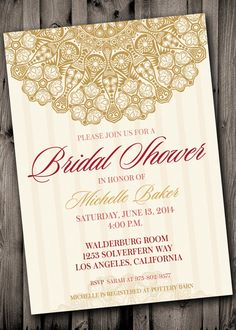 BRIDAL SHOWER Invite Rose, Gold, Pink Elegant, Old Hollywood Vintage Lace Bridal Shower - Glam on Etsy, $12.00