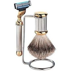 Caswell Massey Silver Gold Ribbed Art Deco Shave Set