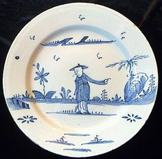 Fantastic Antique English delft charger, probably Bristol 1750