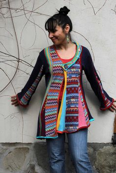 Multicolored fantasy sweater made from recycled sweaters and new fabric. Reused, remade and up cycled. Comfortable! Nice in touch. Boho style. Full of
