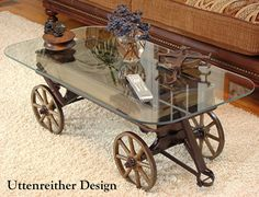Antique Wood Wagon Coffee Table, Glass Top Display Table, Rustic, Country…