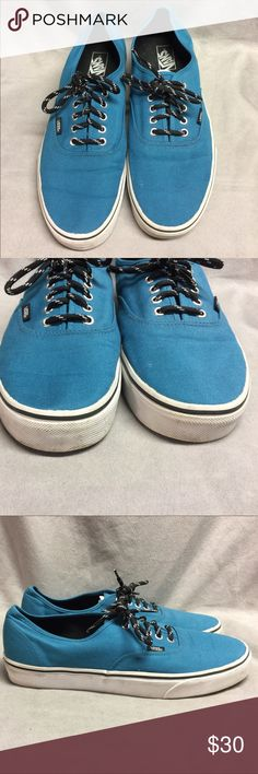 Vans Teal Blue Green Skateboarding Shoes Size 12 M Vans Teal Blue Green With Black and White Laces Skateboarding Shoes Size 12 M  These shoes are marked Men's US 12 The color is a turquoise blue or green Laces are black with white stripes  Excellent condition Minor scuffs from normal wear Please see pics to see if they will work for you Vans Shoes Sneakers