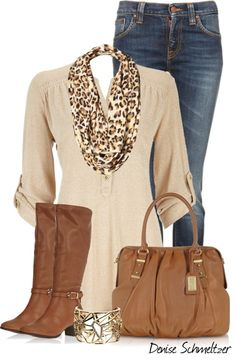 Not a fan of animal print but I love this scarf with the slack shirt and brown boots very very cute color combo