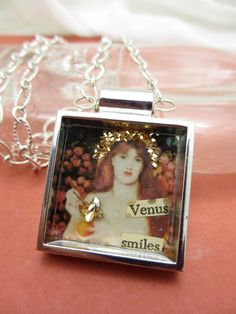 """""""Venus Verticordia""""; One of a kind collage necklace under resin featuring fine art by Dante Gabriel Rossetti; spring and summer jewelry accessories"""