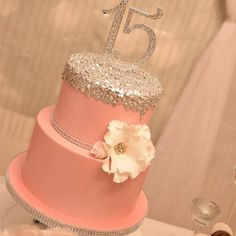 Blinged, Personalized and Flamboyant Quinceanera Cake toppers 15th Birthday Cakes, Sweet 16 Birthday Cake, Birthday Cakes For Teens, Girl Birthday, Pretty Cakes, Cute Cakes, Fondant Cakes, Cupcake Cakes, Quince Cakes