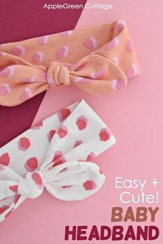 See how to make a baby headband using this easy tutorial. Make a quick and fashionable baby accessory in minutes! These diy knot headbands come in 3 sizes, you can sew them on a basic home sewing machine. Visit the blog and learn how to make baby knot headbands now! Make Baby Headbands, Sewing Headbands, Baby Bows, Baby Headband Tutorial, Headband Pattern, Diy Headband, Sewing Baby Clothes, Baby Sewing Projects, Baby Sewing Tutorials
