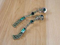 Long Green Rhinestone Chandelier Clip On Earrings / Vintage Rhinestone Clip Earrings / Dark Green and Light Green Non Pierced Earrings by VintageBaublesnBits on Etsy