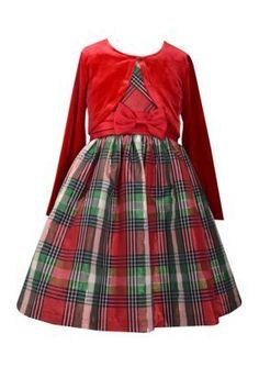 Bonnie Jean Red Plaid Dress and Cardigan 2-Piece Set Girls 7-16