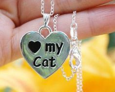 Charm Necklace - .925 Sterling Silver Chain - I Love My Cat Pendant - Reversible Paw Print Heart Gift