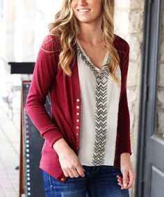 This So Perla Burgundy Snap Cardigan by So Perla is perfect! #zulilyfinds