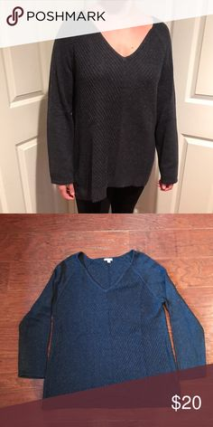 Oversized Detailed Knit Sweater V-neck loose oversized sweater with slight high low hem and pretty detailed knit on front and back. Very comfortable and great for winter. J. Jill Sweaters V-Necks