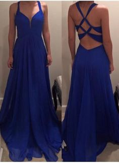 USD$129.00 - Elegant Royal Blue Long Chiffon Prom Dress 2016 Special Back - www.27dress.com