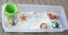 Baby/Toddler Beach Sensory Bin with Edible Sand!