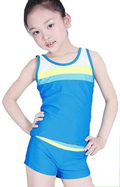 Unko Girls Sporty Bikini Set 2pcs Swimwear Swimsuit Blue 5XL155165cm ** Read more reviews of the product by visiting the link on the image.